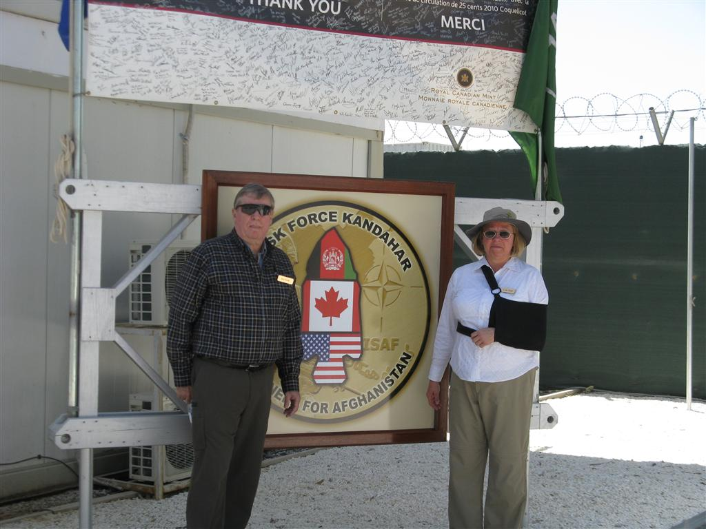 Jane and Rick in front of the Canadian Task Force Headquarters in Kandahar.